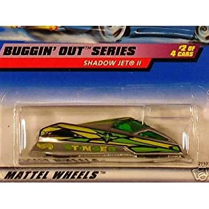 Mattel Hot Wheels 1999 1:64 Scale Buggin Out Series Yellow & Green Shadow Jet II Die Cast Car 2/4