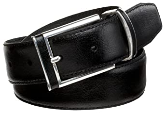 Alexander Julian Men's Leather Inlay Buckle And Loop Belt,Black,32