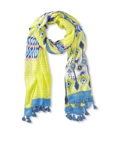 RAFE NEW YORK Women's Cusco Zigzag Print Scarf, Lime/Blue As You See