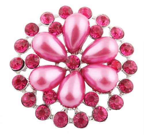 Ladies Silver with Metallic Fuchsia Iced Out Sun Wheel Pearl Flower Style Collar Brooch & Pin
