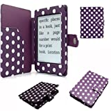 Semoss Polka Dots Smart Leather Case Cover with Auto Sleep and Wake Function for Kindle Paperwhite 2012 Version Purple and White