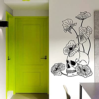 Housewares Vinyl Decal Sticker Skull and Poppies Dangerous Flowers Floral Design Home Wall Art Decor Removable Stylish Sticker Mural Unique Design for Any Room from Decal House