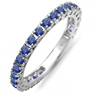 1.10 Carat (ctw) 14K White Gold Round Blue Sapphire Eternity Sizeable Stackable Ring Wedding Band 1…