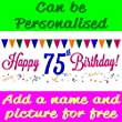 Happy 75th Birthday V2 PVC Banner With Hems and Eyelets Available in 3 Sizes (this size is 4FT x 1.5FT)