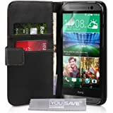Yousave Accessories Coque The New HTC One M8 (2014) Etui Noir PU Cuir Portefeuille Housse