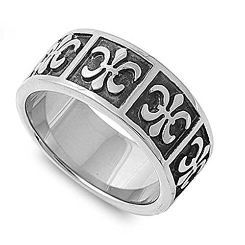 Men'S Fleur-De-Lis Ring Unique Polished Stainless Steel Comfort Fit Band New Usa Size 10 Valentines Day Gift