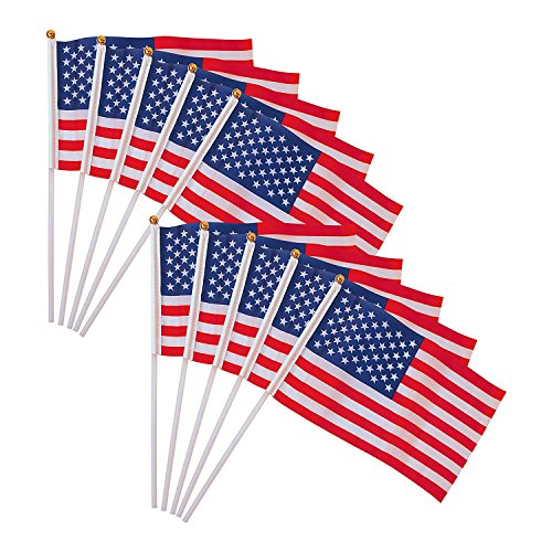 ALEKO 10USFL4X6H Small American Flags on a Stick Hand Held Mini Patriotic U.S. Plastic Round Top Decoration Flags, Set of 10