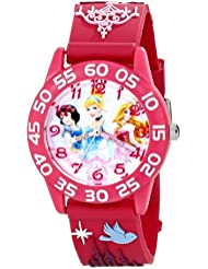 "Disney Kids' W001510 ""Time Teacher"" 3D Disney Princess Watch With Pink Plastic Band"