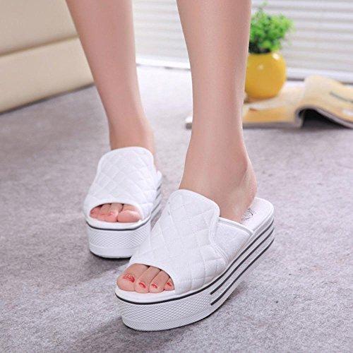 JIAJIA Cunei piattaforma pantofole women high heel piattaforma sandali e ciabatte pantofole infradito 35 36 37 38 39 3 4 5 6 7 8 2 , white , 36