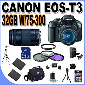 Canon EOS Rebel T3 12.2 MP CMOS Digital SLR with Canon 18-55mm IS II Lens and Canon 75-300 Lens (Black)+32GB+2 Extra Batteries+AC/DC Charger +UV Filters+3 Piece Filter Kit+Case+Full Size Tripod+Accessory Kit