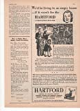 Hartford Fire Accident Livestock Insurance Co. We'd Be Living In An Empty House If It Wasn't For The Hartford 1950 Farm Antique Advertisement