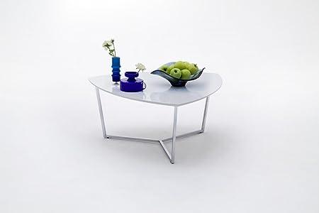 Dreams4Home Couchtisch 'Iva' - Tisch, Beistelltisch, Ablagetisch, Sofatisch, 2 Größen, B/H/T:90x40x90cm, B/H/T:120x40x70cm, MDF, Gestell: Metall verchromt, Deckplatte belastbar bis 20 kg, Wohnzimmer, Gästezimmer, in Hochglanz weiß /