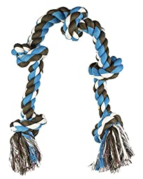 Mammoth Flossy Chews Cottonblend 5-Knot Rope Tug, Blue/Brown, X-Large, 36 Inch
