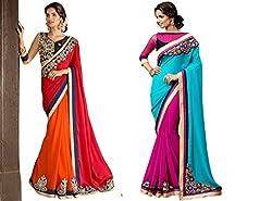 Pragya creations Women's Chiffon Saree (Prag41_Multi)-pack of 2