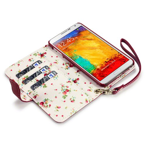 Samsung Galaxy Note 3 Premium Faux Leather Wallet Case with Floral Interior - Red