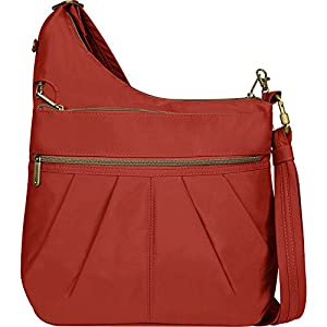 Travelon Anti-Theft Signature 3 Compartment Crossbody Straight Pocket Shoulder Bag