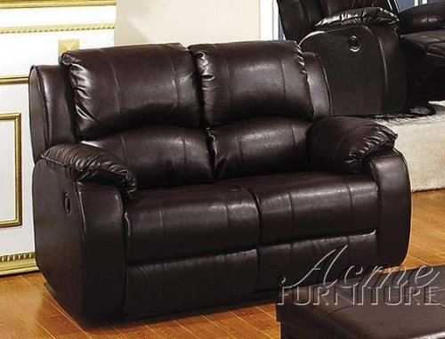 Buy Low Price ACME Recliner Loveseat Sofa Black Regenerated Leather (VF_AM5876)