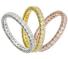 buy Three 3Mm Italian .925 Sterling Silver Tri-Color Stackable Handset Swarovski Crystal Cz Eternity Engagement Wedding Band Ring Set 4-10 (10)