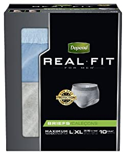 Depend Underwear Real Fit Maximum Absorbency for Men, Large/X-Large, 10 Count (Pack of 4)