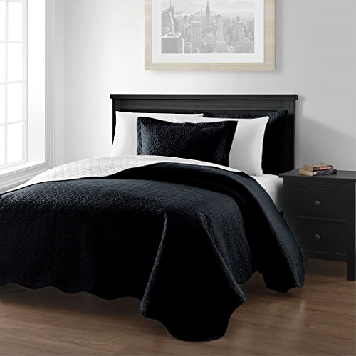 """Chezmoi Collection Mesa 3-Piece Oversized (118""""X106"""") Reversible Bedspread Coverlet Set King, Black/White front-16022"""