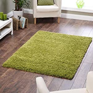 """Shaggy Rug Lime Green 963 Plain 5cm Thick Soft Pile 160cm x 230cm (5ft 3"""" x 7ft 7"""") Modern 100% Berclon Twist Fibre Non-Shed Polyproylene Heat Set - AVAILABLE IN 6 SIZES by Quality Linen and Towels by Quality Linen and Towels"""