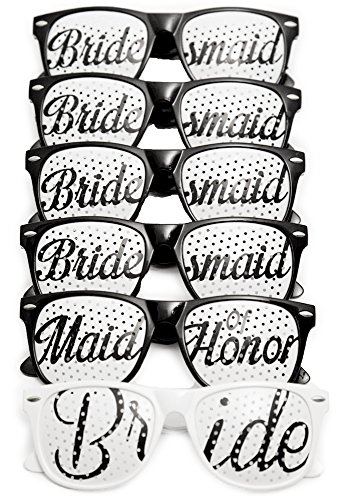 Bridal Bachelorette Party Favors - Wedding Kit - Bride & Bridesmaid Party Sunglasses - Set of 6 Pairs - Go Selfie Crazy - Themed Novelty Glasses for Memorable Moments & Fun Photos (6pc, Black & White)