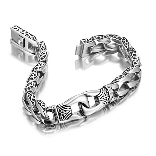 shankming-mens-link-bracelet-stainless-steel-silver-black-best-gifts-for-halloween-day22cm