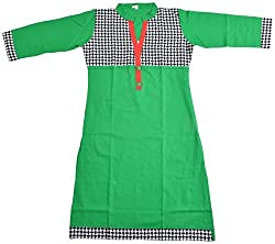 Apsara Women's Cotton Regular Fit Kurta (Green, XXL)