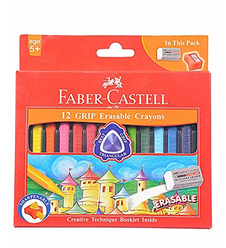 Faber-castell Early Age Moulded Erasable Grasp Crayons for Age 6+ (Grip Erasable Crayons Pack of 12Pcs) - 1
