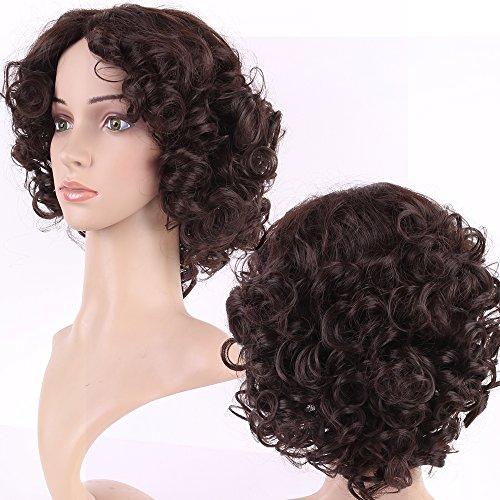 S-noilite Short Curly Wigs Classy Womens Laidies Heat Resistant Synthetic Hair Wig Bangsless (short wigs, Dark brown 454)