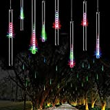 OMGAI LED Meteor Shower Rain Lights,Drop/Icicle Snow Falling Raindrop 30cm 8 Tubes Waterproof Cascading lights for Wedding Xmas Home Decor - Colorful,US plug