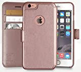 iPhone 6, 6s Wallet Case | Durable and Slim | Lightweight with Classic Design & Ultra-Strong Magnetic Closure | Faux Leather Rose Gold | Apple 6/6s (4.7 in)