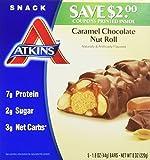 Atkins - Advantage Snack Bars, Caramel Chocolate Nut Roll, 5 Bars of 1.6 Oz