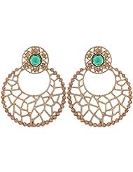 Grandiose TM. Chaand Bali Filigree Antique Rhodium Plated Green Earring For Women