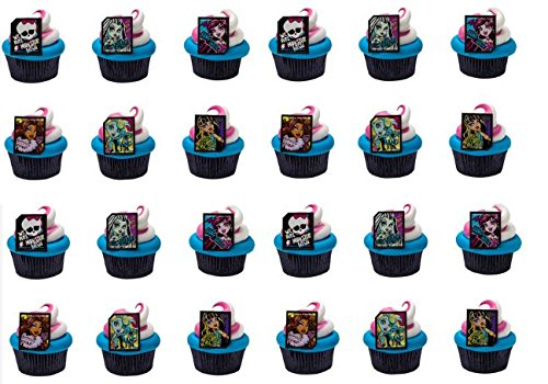 24 Monster High Cupcake Decoration Rings with Baking Cups