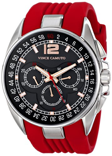 Vince Camuto - VC/1052RDSV - Montre Mixte - Quartz - Analogique - Bracelet Silicone rouge
