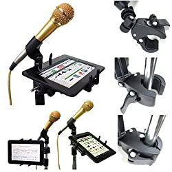Apple IPAD MINI Google Nexus 7 Amazon KINDLE FIRE HD HDX Samsung Galaxy TAB 7 7.7 Asus MemoPad Archos 7 70 & all other 7 Tablet Slate Music Microphone Stand Tablet Mount with Easy Clamp and Multi Angle Swivel Adjustment Holder **Easy to Setup Install in Minutes**