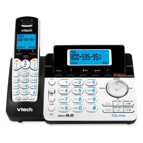 Vtech DS6151 Dect 6.0 2-Line Expandable Cordless Phone with Digital Answering System and Caller ID, Silver