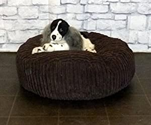 "Zippy Round Bean Bag Pet Dog Bed - 30"" diameter - Brown Jumbo Cord Fabric - Beanbags from Zippy"