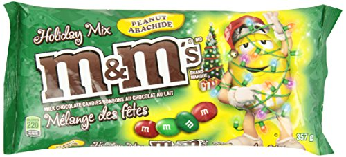 M&M's Peanut Red and Green Christmas Laydown Bag Chocolate Pack, 357gm