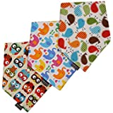 Gongzhumama Baby Bandana Drool Bibs With Adjustable Snaps - 3-Pack, Unisex,100% Cotton