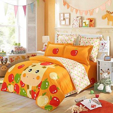 ELA LOVO KIDS Sweet Cute Cartoon Giraffe 100% Cotton 300-Thread-Count Bedding Sheet Set Twin