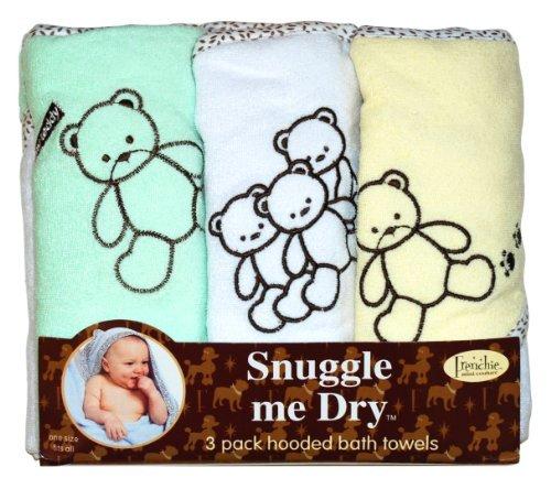 Frenchie Mini Couture Teddy Bear - Set di asciugamani bimbo/bimba con cappuccio, motivo orsetto, 3 pezzi