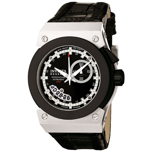 Invicta Men's 6447 Akula Collection GMT Stainless Steel Black Leather Watch