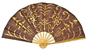 Luna Bazaar Chocolate Brown Mulberry Paper Hand Fan (gilded henna design)