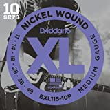 D'Addario EXL115-10P XL Nickel Wound Blues/Jazz Rock (.010-.046) Electric Guitar Strings 10-Pack