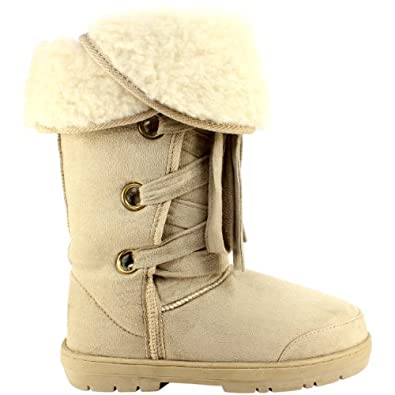 Womens Fur Lined Lace Up Winter Snow Boots Beige Size 10