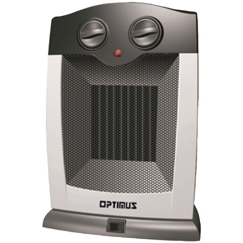 Optimus H-7248 Portable Oscillating Ceramic Heater with Thermostat (Black/Grey)