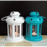 TiedRibbons® Diwali Gift T Light Candles Holder Lantern(6 Inch X 3.7 Inch X 3.7 Inch, White And Blue)
