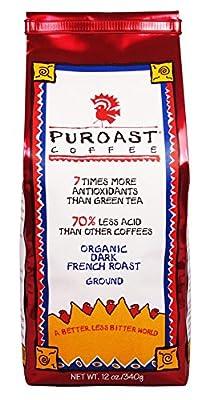 Puroast Low Acid Coffee Organic French Roast Ground Coffee, 12 Ounce Bag by Puroast Coffee